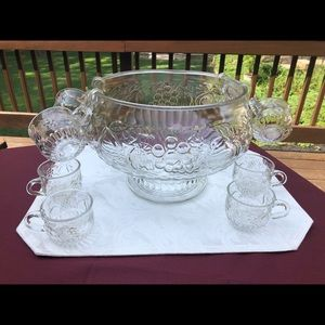 Vintage 60s-70s Fruit Glass Punch Bowl w/ 8 cups
